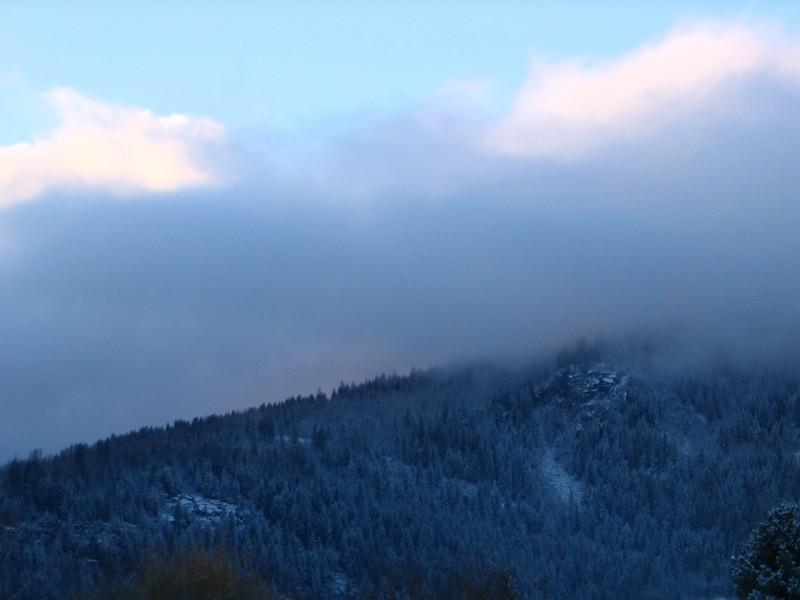 Pulpit Rock under fresh snow, Nelson